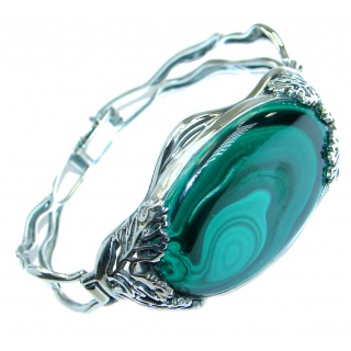 Authentic Green Malachite .925 Sterling Silver handcrafted Bracelet / Cuff