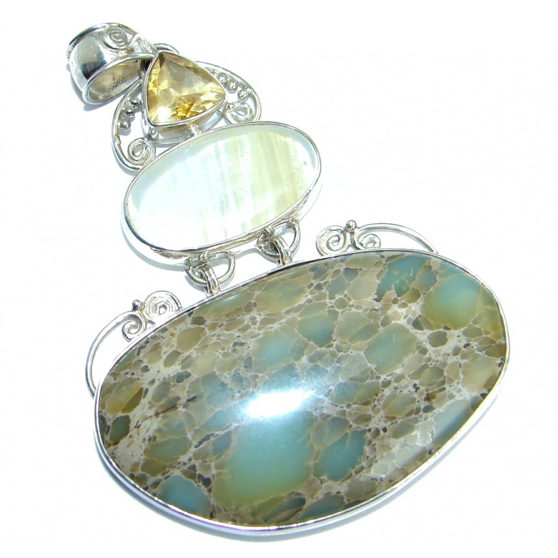 Julietta natural Sea Sediment Jasper .925 Sterling Silver handmade Pendant
