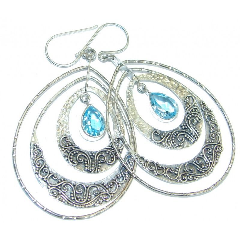 Huge Deluxe genuine Swiss Blue Topaz .925 Sterling Silver earrings