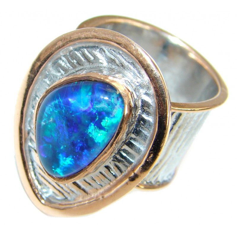 Doublet Opal oxidized Rose Gold over .925 Sterling Silver handcrafted ring size 7 adjustable