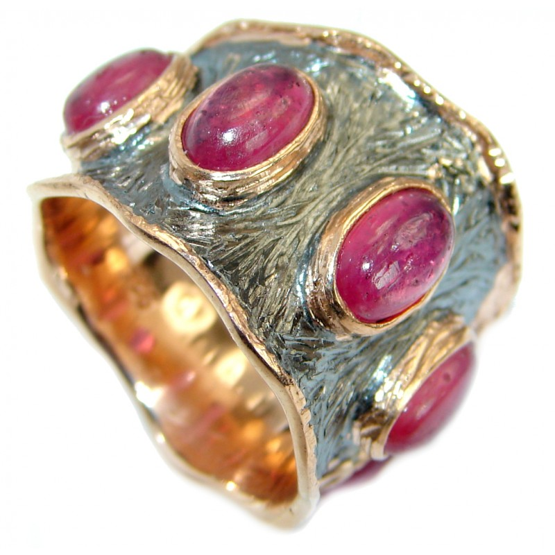 Genuine Ruby .925 Sterling Silver handmade Ring size 7 1/4
