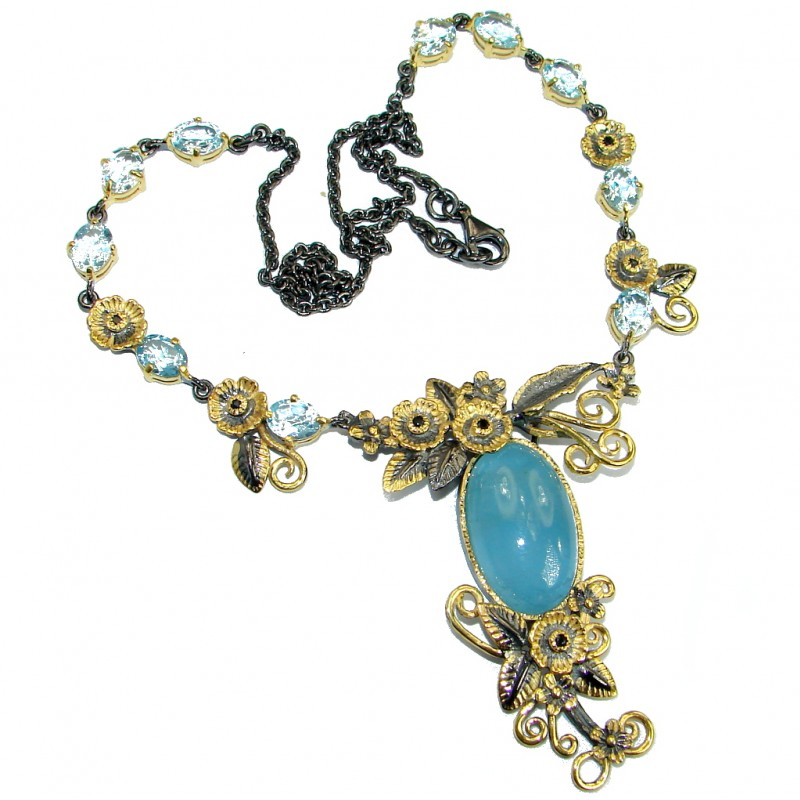 Secret Beauty Blue Aquamarine & Blue Topaz Gold over Sterling Silver handcrafted necklace