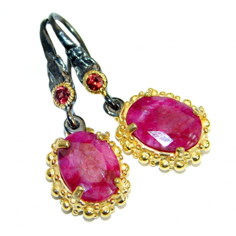 Unique natural Ruby .925 Sterling Silver earrings