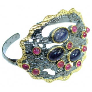 Unusual Design genuine Sapphire Ruby Gold Over .925 Sterling Silver Bracelet