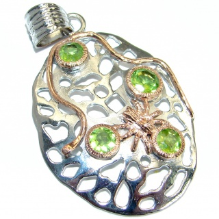 Unique design genuine Peridot .925 Sterling Silver handmade Pendant
