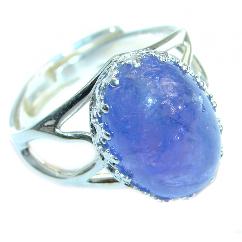 Unique Genuine 10 ct Tanzanite Sterling Silver Ring s. 7 adjustable