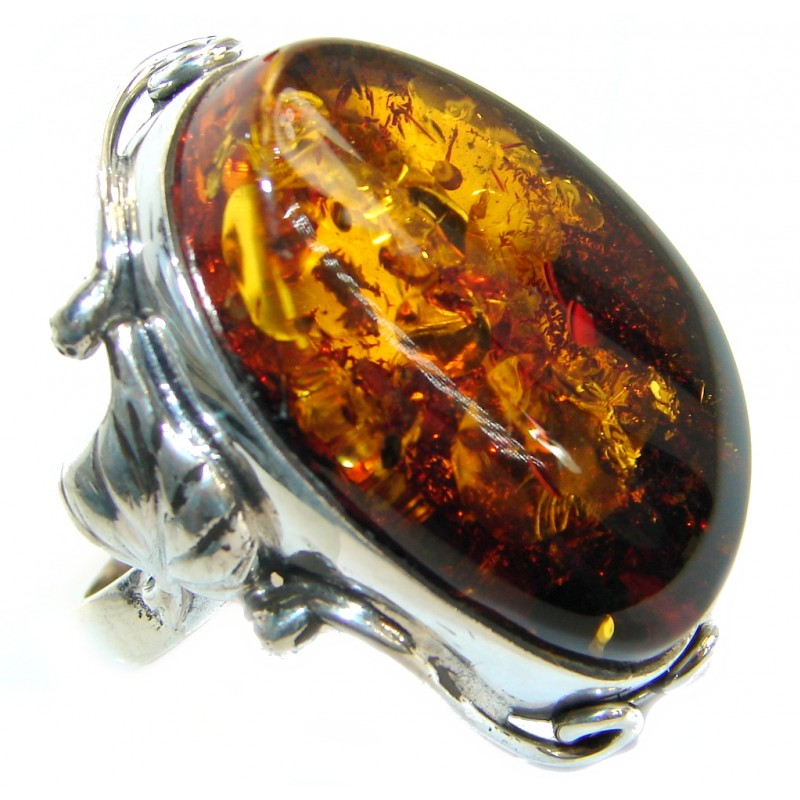 Genuine Baltic Polish Amber .925 Sterling Silver handmade Statment Ring size 8