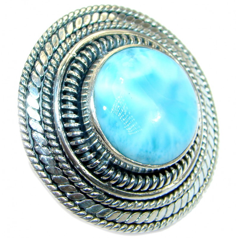 Huge Blue Galaxy Genuine Larimar .925 Sterling Silver handcrafted Ring s. 7 adjustable