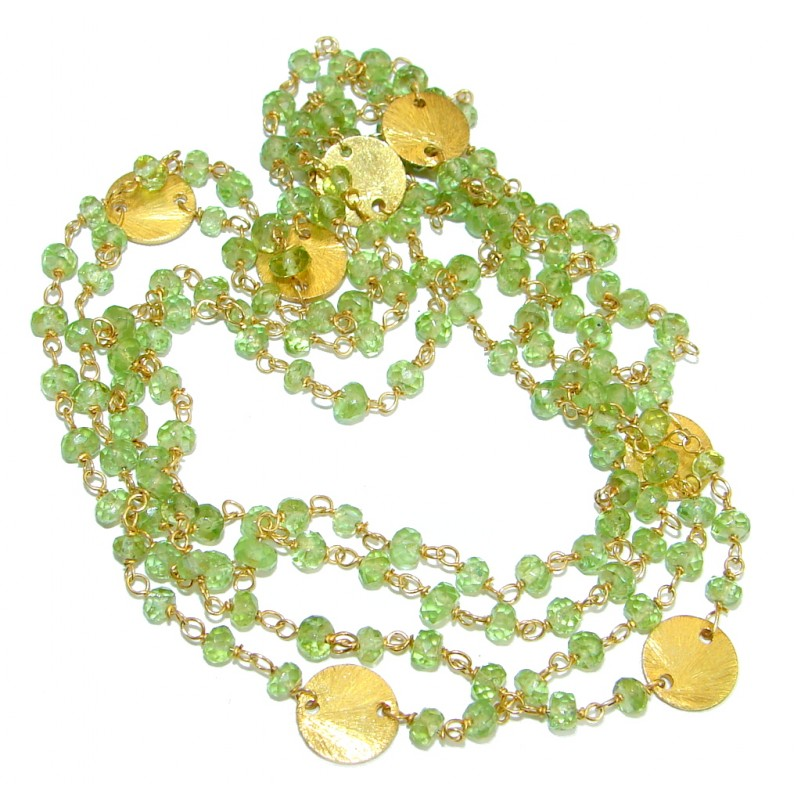 Amazing Genuine Peridot Gold over .925 Sterling Silver Necklace