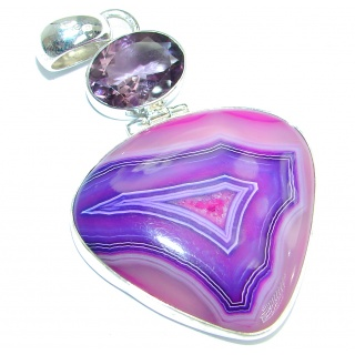 Natural Agate Druzy oxidized .925 Sterling Silver handmade Pendant
