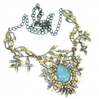 Baroque Style Blue Aquamarine & Peridot 18 ct Gold over Sterling Silver handcrafted necklace