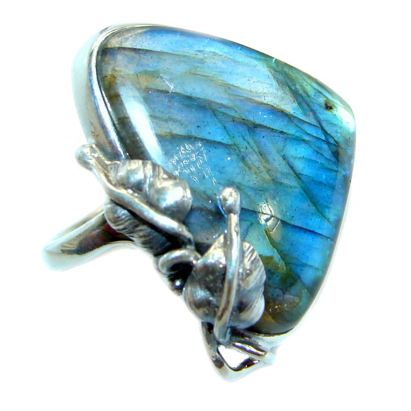 Blue Fire Labradorite .925 Sterling Silver handmade ring size 7 adjustable