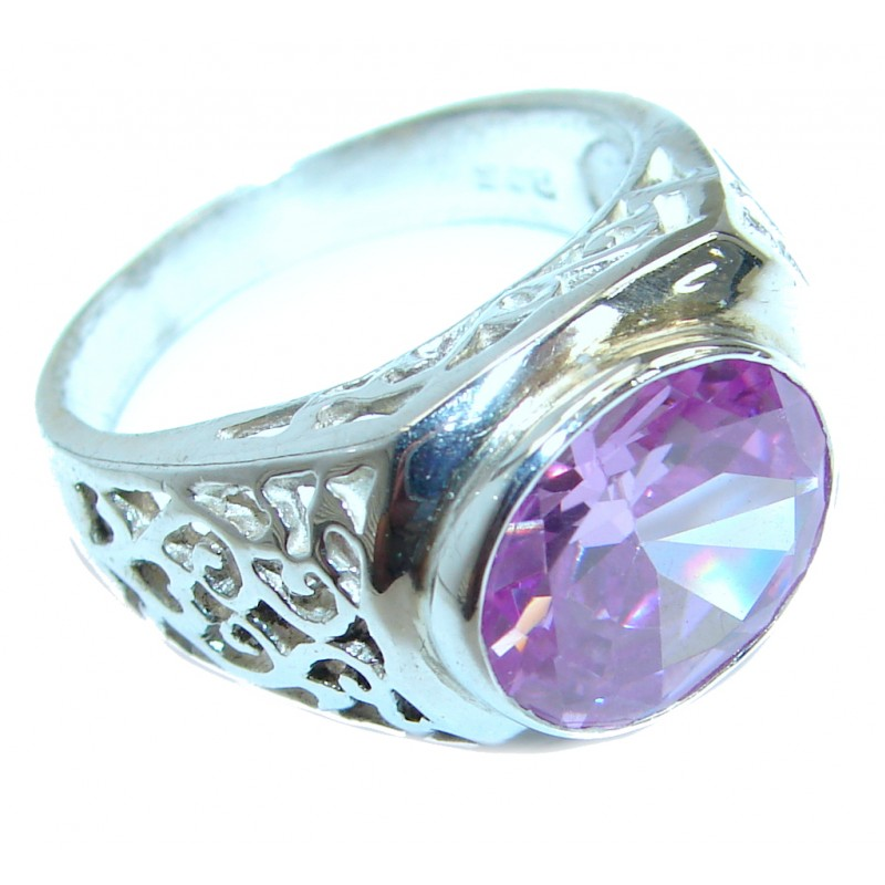 Magic Cubic Zirconia .925 Sterling Silver handmade Ring s. 8
