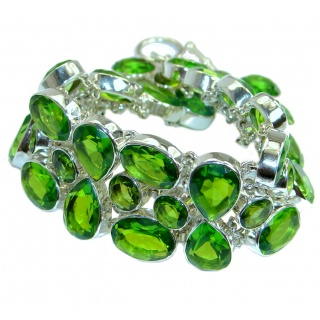 Huge Chic Green Quartz .925 Sterling Silver handcrafted Bracelet