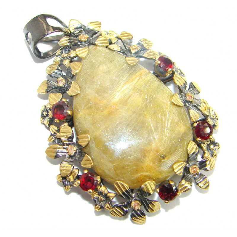 Golden Rutilated Quartz .925 Sterling Silver handmade Pendant