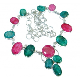 Vintage Design Ruby Emerald .925 Sterling Silver handmade necklace