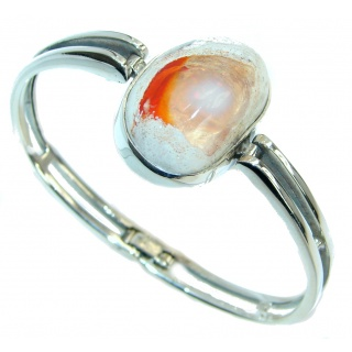 One of the kind Orange Mexican Fire Opal Oxidized Sterling Silver Bracelet