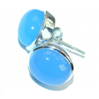 Simple Design excellent quality Chalcedony Agate .925 Sterling Silver earrings