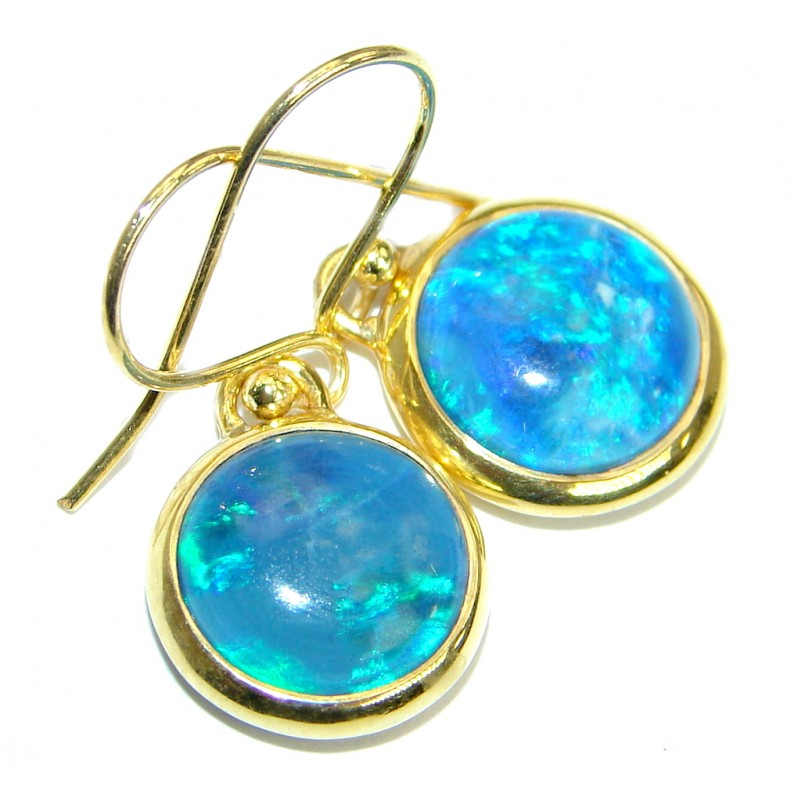 Doublet Opal Gold plated over .925 Sterling Silver handmade earrings