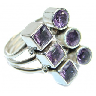 Vintage style Unique Style Amethyst .925 Sterling Silver ring; s. 7 1/2