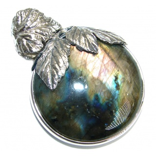 Bold Highest quality genuine Fire Labradorite .925 Sterling Silver handmade Pendant