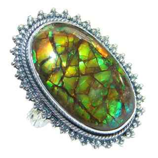 Earth Energy Fire Genuine Canadian Ammolite .925 Sterling Silver handmade ring s. 7 adjustable