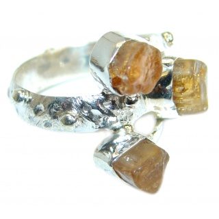 Artisan Rough Citrine .925 Sterling Silver Ring s. 7