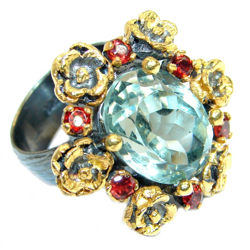 Vintage Style Green Amethyst 18 ct. Gold over .925 Sterling Silver handmade Ring s. 7 adjustable
