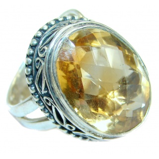 Energazing faceted Citrine .925 Sterling Silver handmade Cocktail Ring size 6 adjustable