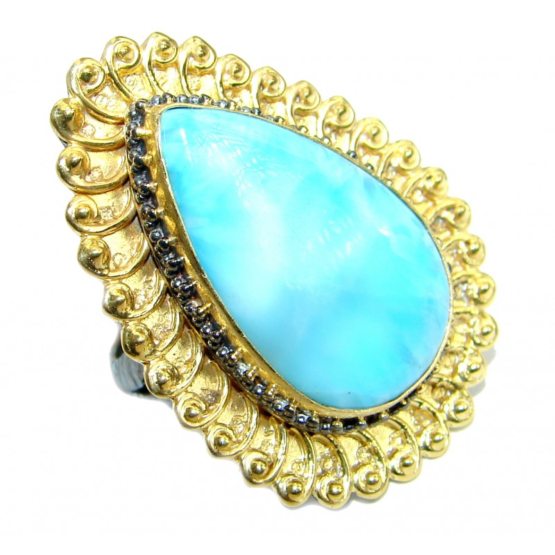 Genuine Larimar Gold over .925 Sterling Silver handcrafted Ring s. 7 adjustable