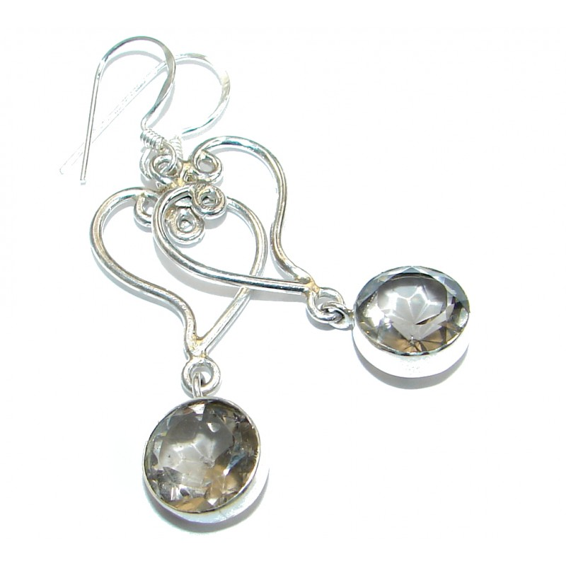 Vintage Style Natural Smoky Topaz .925 Sterling Silver handmade earrings