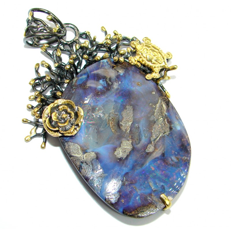 Authentic Natural Australian Boulder Opal Gold over .925 Sterling Silver handmade Pendant