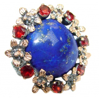 Blue Lapis Lazuli Garnet Rose Gold Rhodium plated over .925 Sterling Silver Ring size 6 adjustable