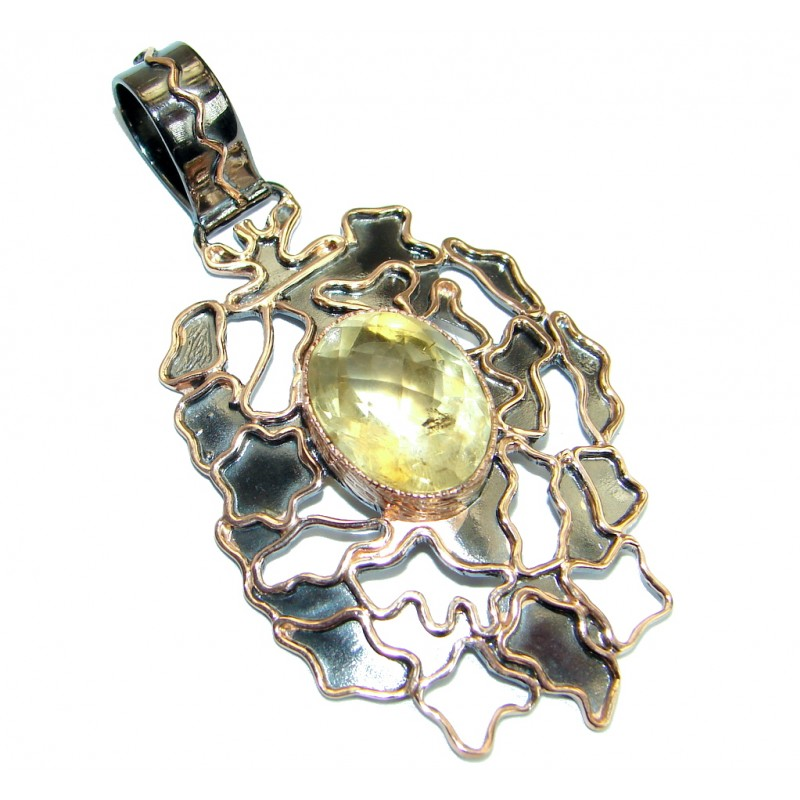 Large Power Magic Genuine Citrine 18ct Gold over .925 Sterling Silver handcrafted pendant