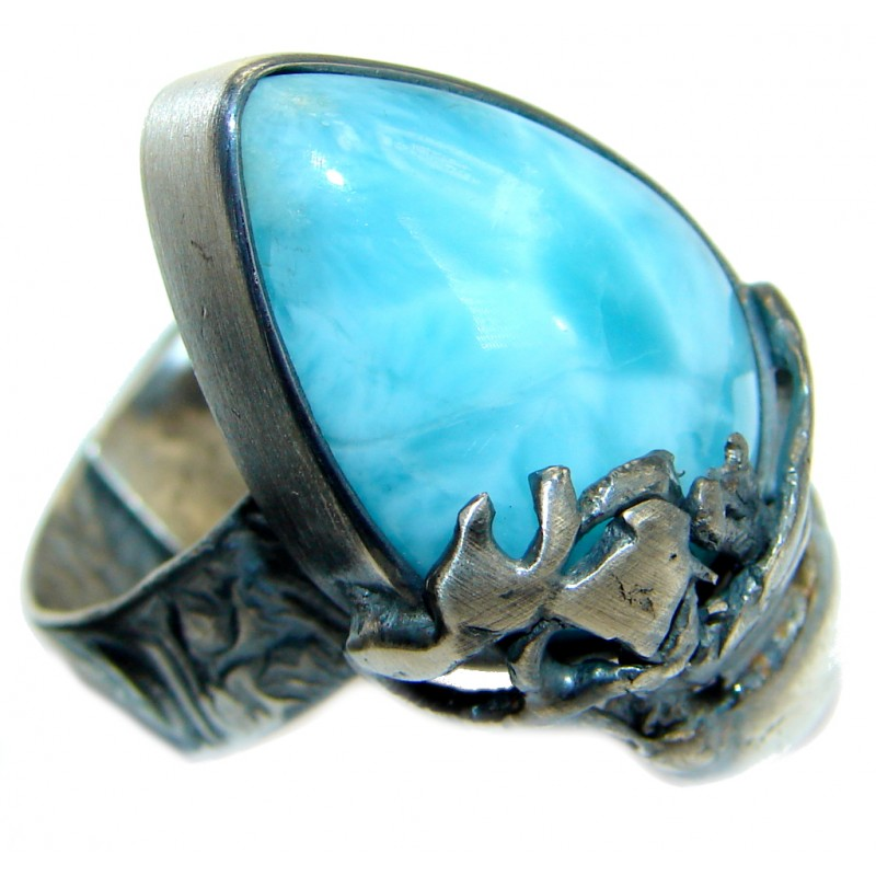 Genuine Larimar oxidized .925 Sterling Silver handcrafted Ring s. 7 adjustable