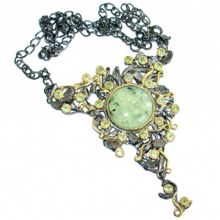 Sublime Genuine Moss Prehnite Peridot Gold over .925 Sterling Silver handmade Necklace