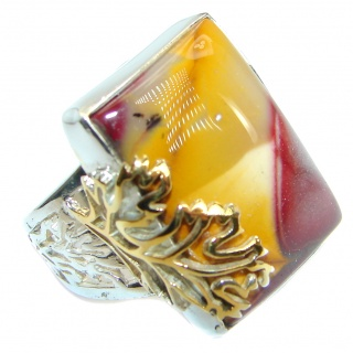 Flawless Australian Bracciated Mookaite Two Tones Sterling Silver Ring size 7 adjustable