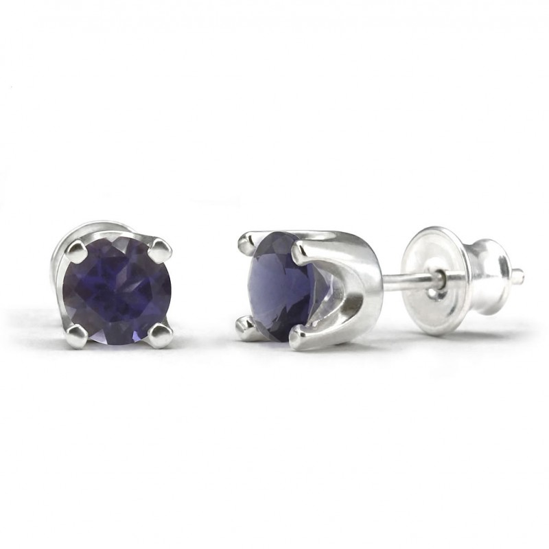 Elegant studs in sterling silver with a iolite