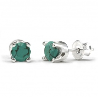Elegant studs in sterling silver with a turquoise