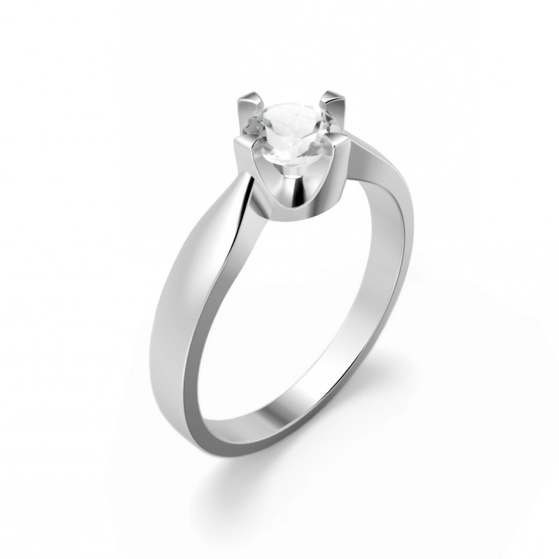 Elegant ring in sterling silver with a white topaz