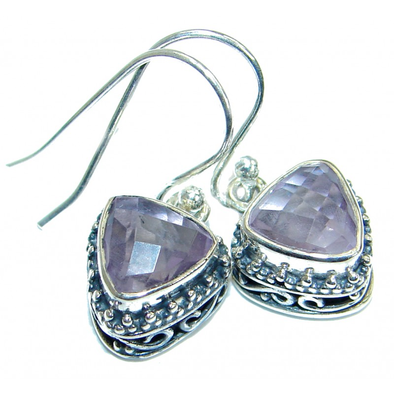 Rich Design Authentic Amethyst .925 Sterling Silver earrings