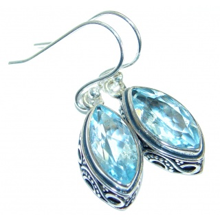 Rich Design Swiss Blue Topaz .925 Sterling Silver handcrafted earrings