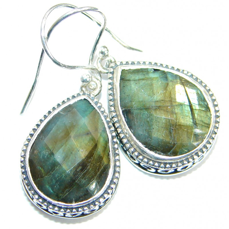 Perfect genuine Labradorite handmade .925 Sterling Silver handmade earrings