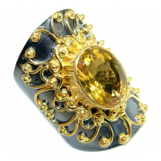 Huge Energy Authentic Citrine Gold over .925 Sterling Silver Cocktail Ring size 9