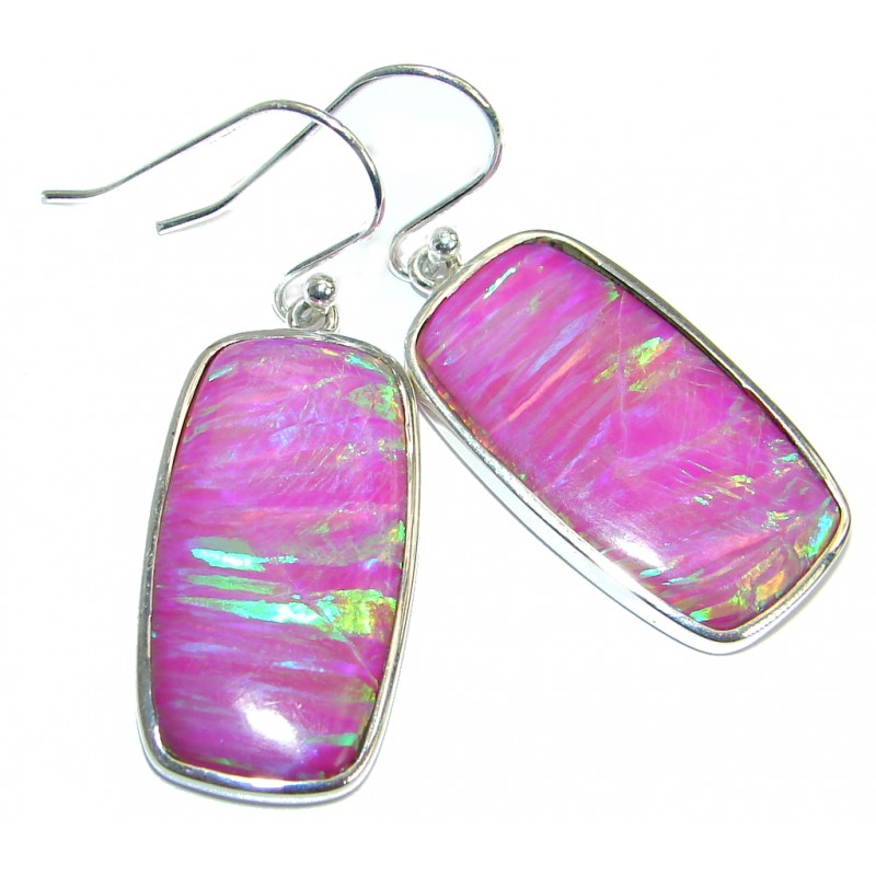 Luxury Lab. Japanese Fire Opal .925 Sterling Silver handmade earrings