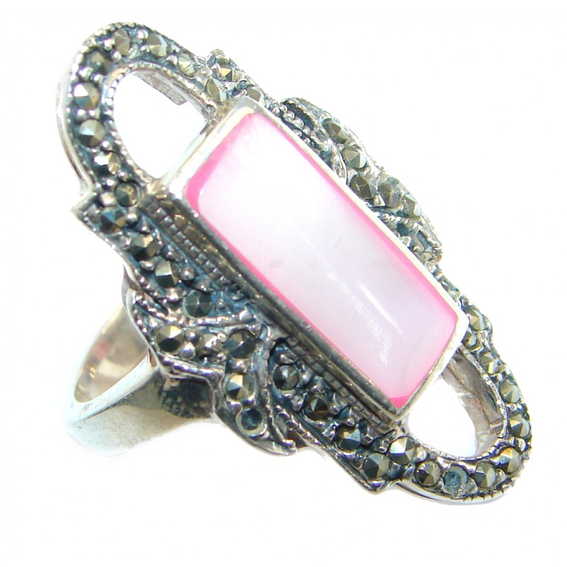 Pink Blister Pearl Sterling Silver handmade ring size 6