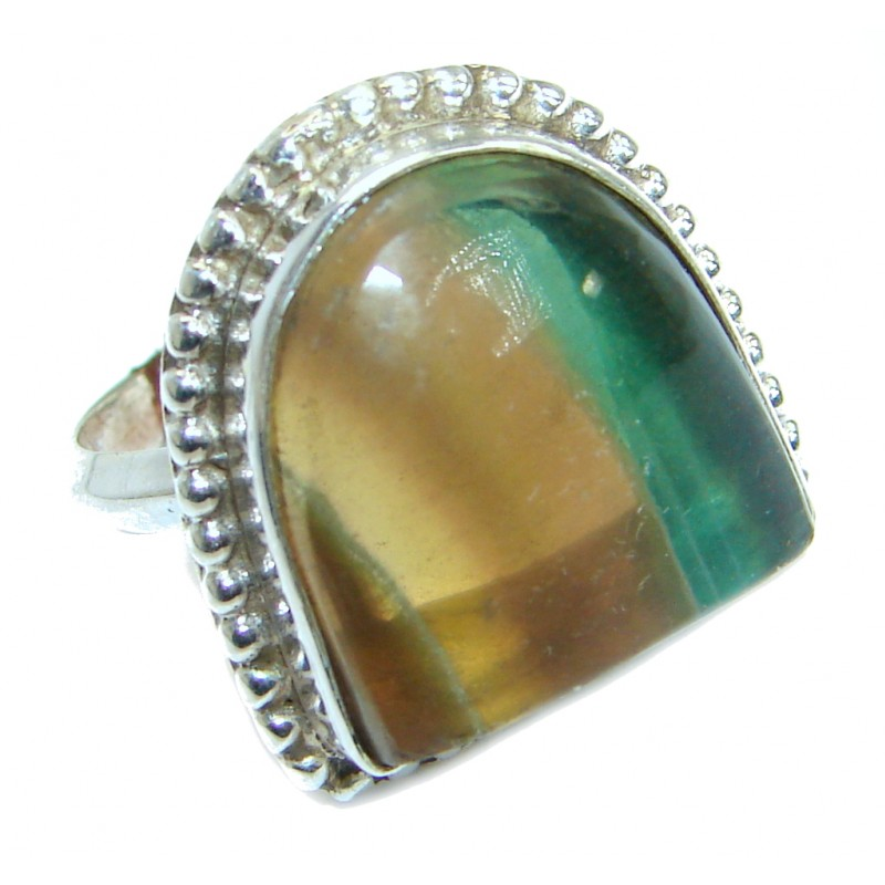 Natural Fluorite .925 Sterling Silver ring s. 7