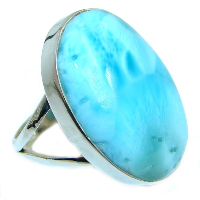 Genuine Larimar .925 Sterling Silver handcrafted Ring s. 8