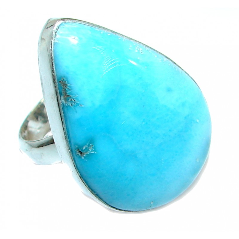 Genuine Larimar .925 Sterling Silver handcrafted Ring s. 7 1/4