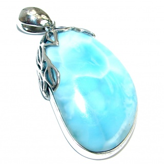Beautiful genuine Larimar oxidized .925 Sterling Silver handmade pendant